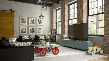 Interior of modern design loft with black sofa 3D rendering 2