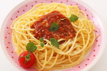 おいしそうなミートソーススパゲティ