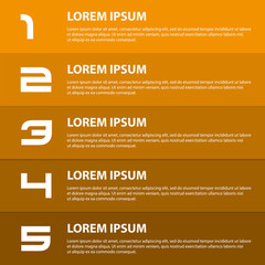 orange to brown modern design business horizontal banners with numbers eps10
