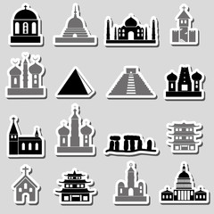 world religions types of temples stickers eps10