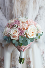 Cream and soft pink wedding bouquet