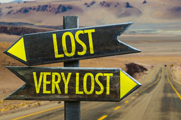 Lost - Very Lost signpost in a desert background