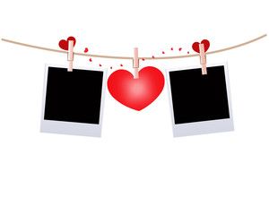 Hanging red lingerie with hearts and blank photo vector background