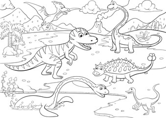 illustration of cute dinosaurs cartoon for coloring