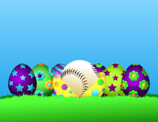 Row of brightly painted Easter eggs siting in the grass.  The center egg is cracked open with a baseball inside.