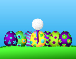 Row of brightly painted Easter eggs siting in the grass.  The center egg is cracked open with a golf ball on a tee inside.
