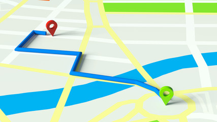 GPS Navigation auf Stadtplan