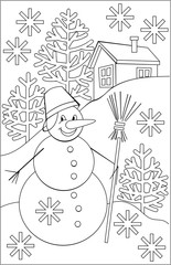 Page with black and white drawing of snowman for coloring. Developing children skills for drawing. Vector image.