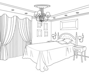 Bedroom furniture. Editable vector illustration of an outline sketch room