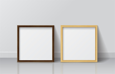 Realistic Square Light Wood and Dark Wood Blank Picture frame, s