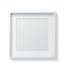 Realistic Square White Blank Picture frame, hanging on a White W