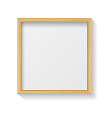 Realistic Square Light Wood Blank Picture Frame, hanging on a Wh