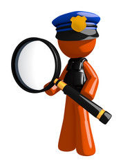 Orange Man Police Officer Standing with Magnifying Glass