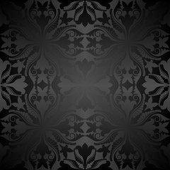 black pattern seamless with antique ornament