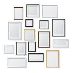 Set of White and Black Blank Picture Frames and