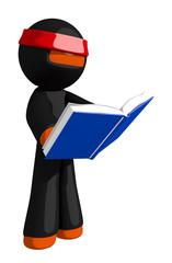 Orange Man Ninja Warrior Reading book