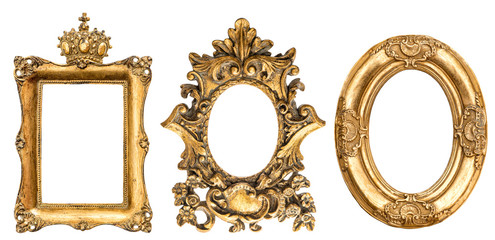Baroque golden picture frame white background