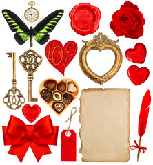 Valentines Day scrapbook. Paper pen, red hearts, golden frame