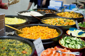 Fresh authentic buffet food at a market stall