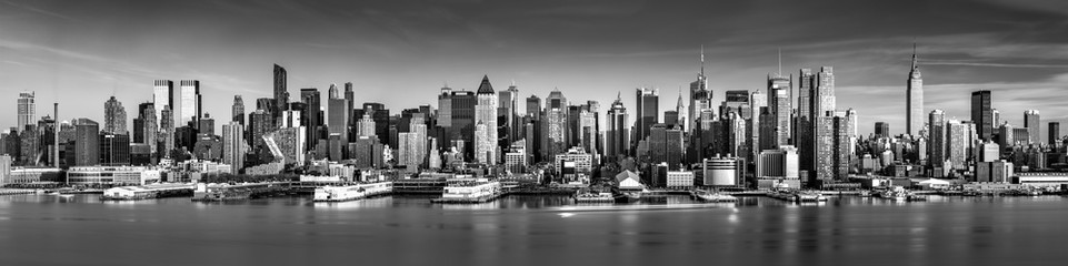 Fototapete - Black and white New York City panorama