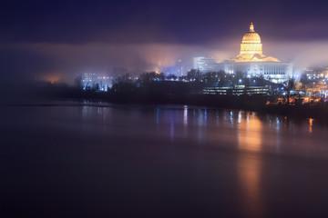 Missouri Capitol Skyline in the Fog