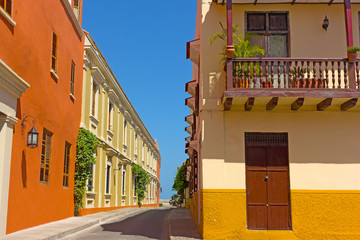 Cartagena city street with vintage buildings, Colombia. Colorful building of Cartagena Walled City.