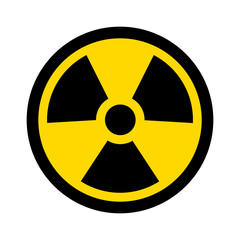 Yellow radioactive / radiation symbol flat icon for websites and print