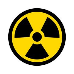 Yellow radioactive / radiation symbol flat icon for websites and print