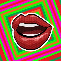 Pop art style.  Lips on abstract background. Vector illustration