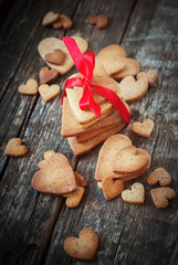 Stack Gingerbread Cookies in the Shape of Heart