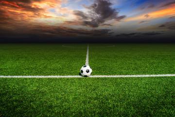 Soccer football field stadium grass line ball