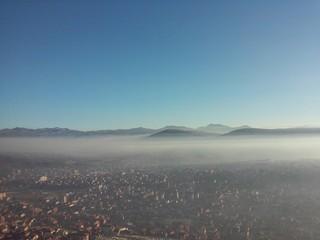 Fog above city