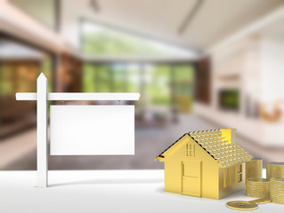 property concept with blank sign and golden house