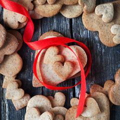 Gingerbread Cookies in the Shape of Heart at Valentine Day