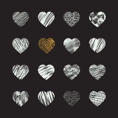 Hand drawn heart icons for valentines and weddings, vector hand drawn hearts