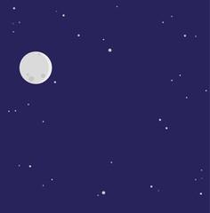 Vollmond mit Sternenhimmel Vektor Hintergrund
