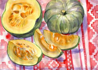 Pumpkin. Still life. Watercolor painting