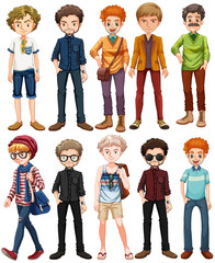 Men in different outfit