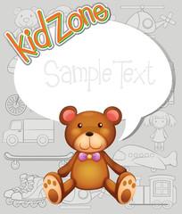 Border design with teddy bear