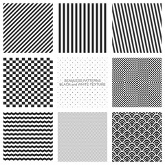 Set of seamless pattern, black and white