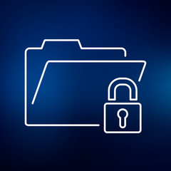 Secure folder icon. Folder with padlock sign. Password protected folder symbol. Thin line icon on blue background. Vector illustration.