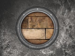 Submarine window or battleship porthole  metal back