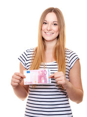 Young woman holding 10 euro