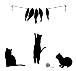 Cat climbs to dried fish, three cat silhouettes. Vector illustration.
