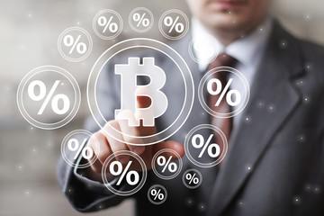 Businessman pressing button web bitcoin icon percent