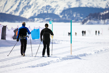 Couple Cross Country Skiing in Engadin