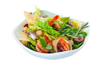 Caesar salad with  prawns,  saved clipping path