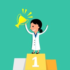 Female Doctor Winning A First Prize Trophy