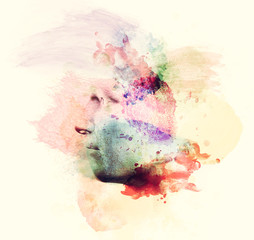 Man face in watercolor painting. Concept of creative thinking, imagination, emotions