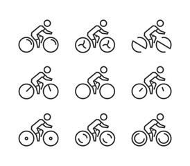 Vector line cycling icon set. Cyclist silhouette figures.